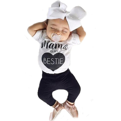 Mama Is My Bestie Printed Letters With Heart Logo Baby Girl Outfit Set