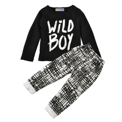 Wild Boy Printed Letters Baby Outfit Set
