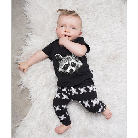 Raccoon Head Logo Casual Baby Boy Outfit Set