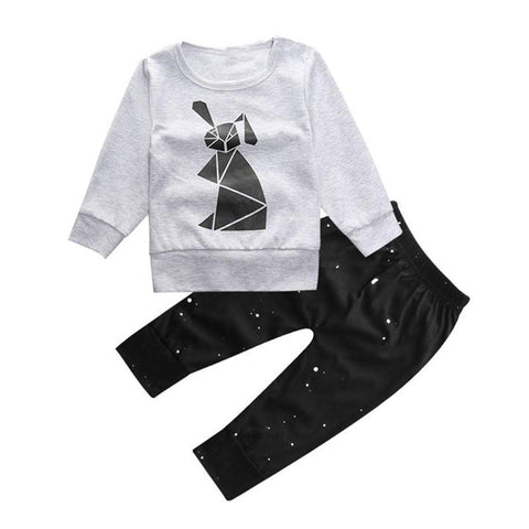 Black Bunny Logo Baby Outfit Set