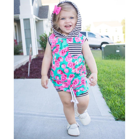 Floral Shirt With Hooded Stripes & Shorts Baby Girl Outfit Set