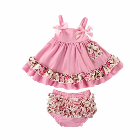 Pink Floral Dress Summer Baby Girl Outfit