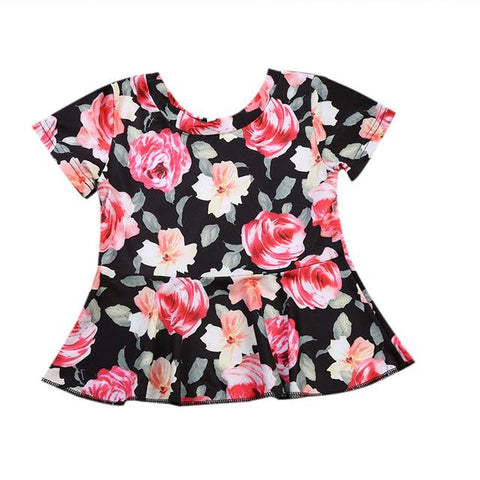 Summer Baby Girl Dress Flowers Logo Outfit