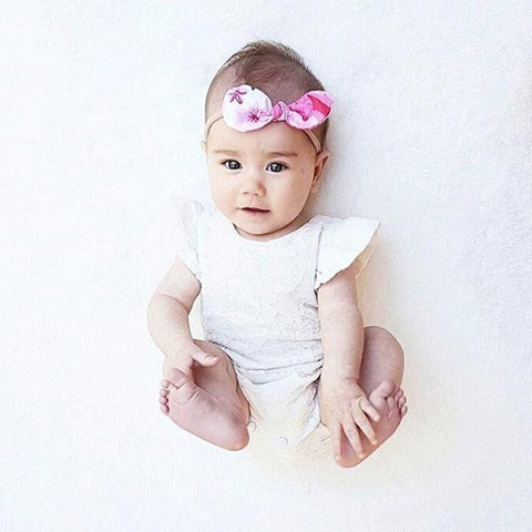 White Floral Cotton Baby Romper
