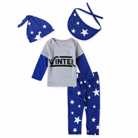 Winter Printed Letters Baby Boy Outfit Set