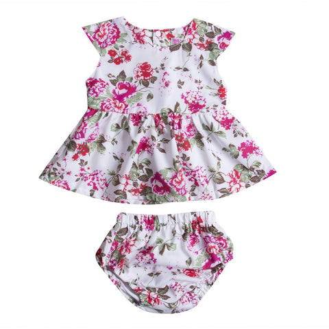 Cute Floral Dress & Shorts Baby Girl Outfit Set