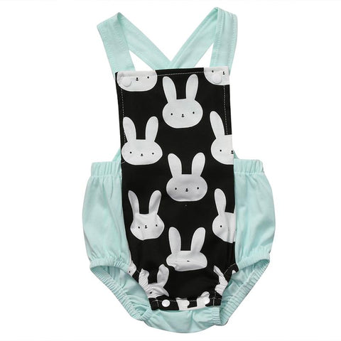 Cartoon Bunnies Baby Girl Romper