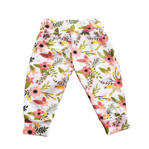Cute Floral Pants Baby Girl Soft Cotton Trousers