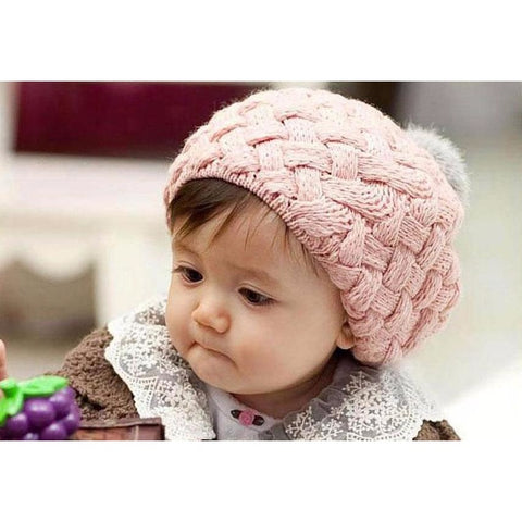 Rabbit Fur Baby Girl Knitted Hat