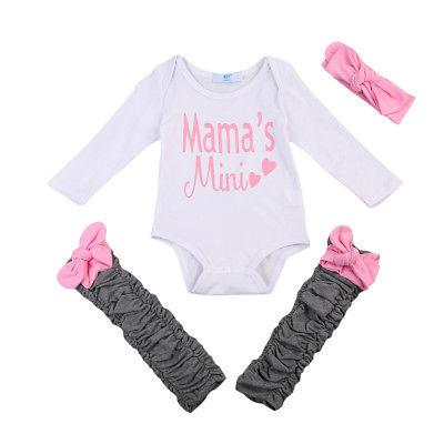 Mama's Mini Pink Printed Letters Baby Outfit Set