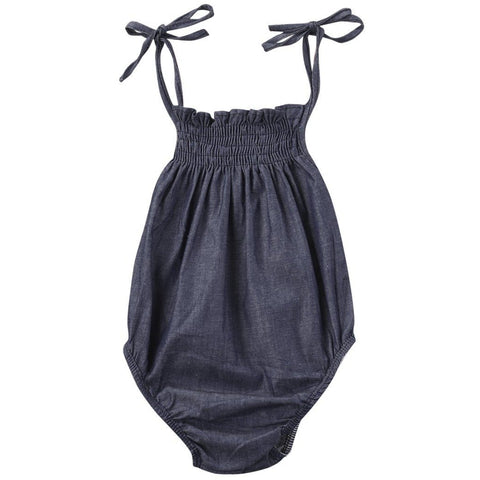 Charcoal Denim Baby Girl Romper