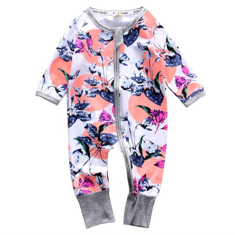 Cute Floral Design Baby Girl Jumpsuit