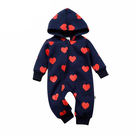 Cute Red Hearts Baby Boy Jumpsuit