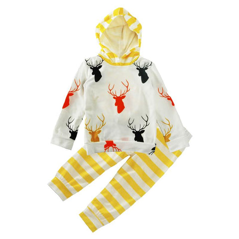 Multicolor Deer Logo Baby Outfit Set