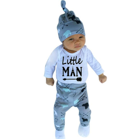 Little Man Printed Letters With Arrow Baby Outfit Set