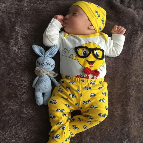 Yellow Ball With Glasses Printed Logo Baby Outfit Set