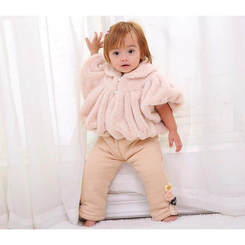 Lovely Fur Jacket Baby Girl Winter Outfit