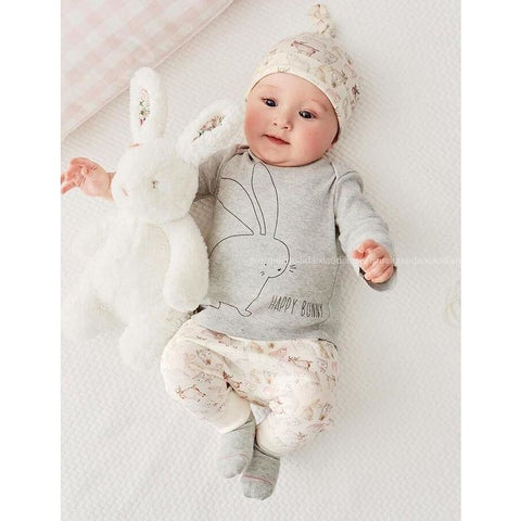 Grey Bunny Logo Baby Outfit Set