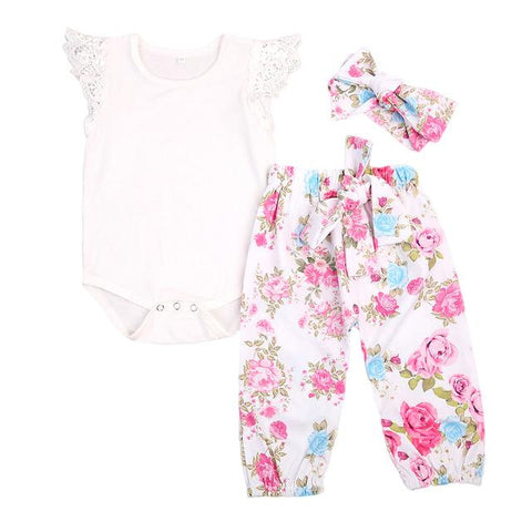 White Sleeveless Shirt Baby Girl Outfit Set