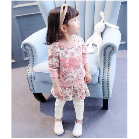 Casual Flowers Outfit Baby Girl Set