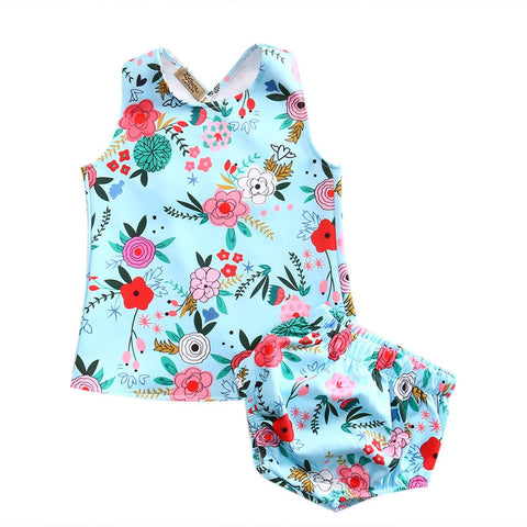 Exotic Floral Outfit Cute Baby Girl Set