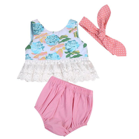 Cute Floral Shirt & Pink Shorts Baby Girl Outfit Set