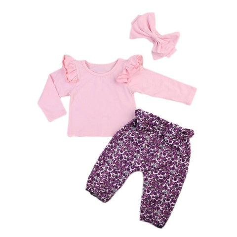 Pink T-Shirt & Floral Trousers Cute Baby Girl Outfit Set