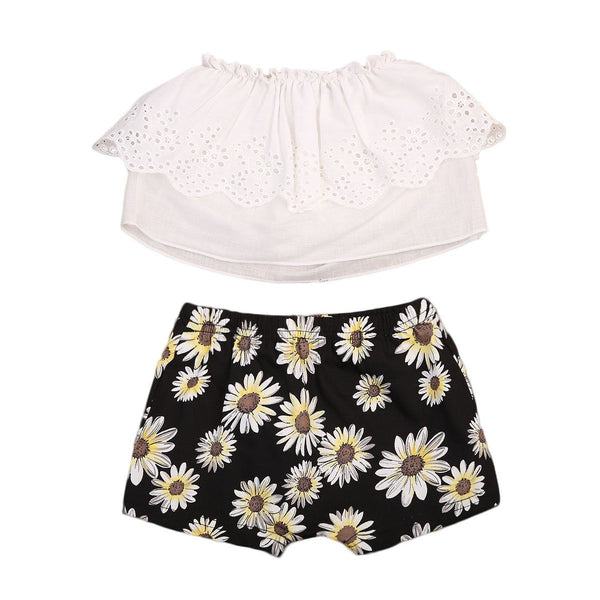 White Shirt & Floral Shorts Baby Girl Outfit Set