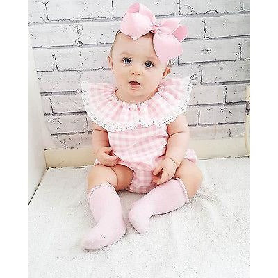 Pink Plaid Dress & Shorts Baby Girl Outfit Set