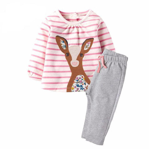 Sweet Deer Head Logo Baby Girl Outfit Set