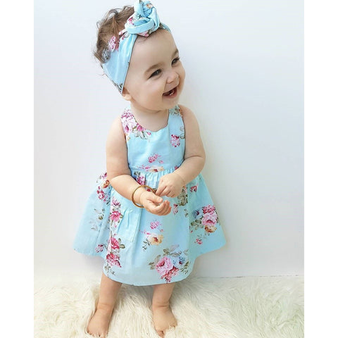 Blue Floral Baby Girl Dress Outfit