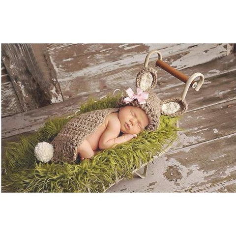 Brown Knit Bunny Baby Girl Costume