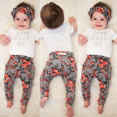 Red & Grey Floral Pants Baby Girl Trousers