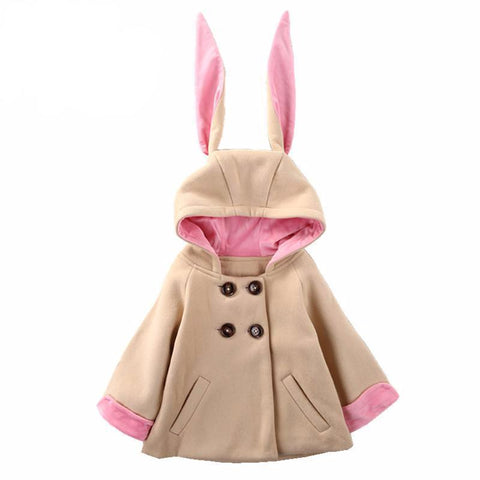 Lovely Rabbit Hooded Jacket Baby Girl Outfit