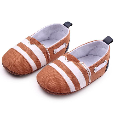 Striped First Walker Non-Slip Moccasins