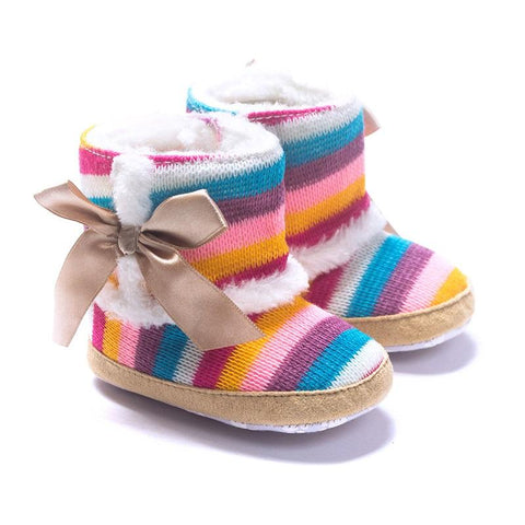 Rainbow Stripe Baby Girl Boots