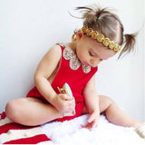 Red Cotton Baby Girl Romper