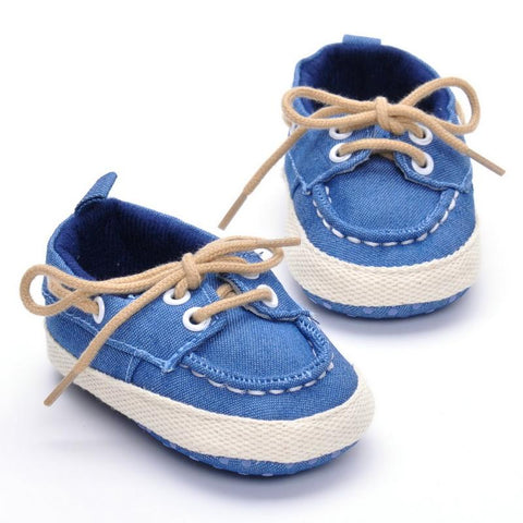 Cross-Tied Soft Cotton Moccasins
