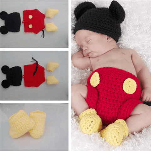Knit Mickey Mouse Costume Baby Girl Outfit