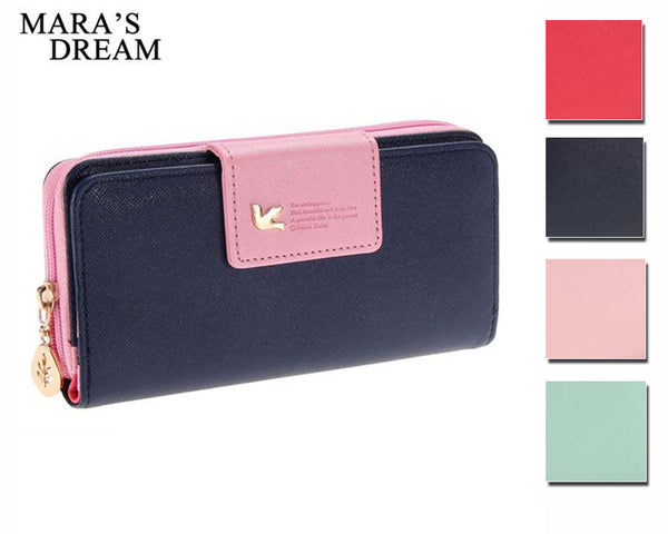 Long Faux Leather Two-Tone Wallet for Her