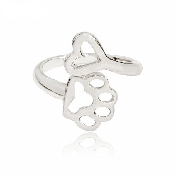 Adjustable Puppy Paw and Heart Ring
