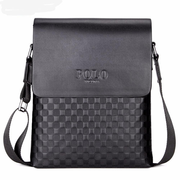Leather Plaid Shoulder Bag for Men