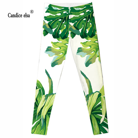 CANDICE ELSA soft women leggings green leaves printed leggins elastic plus size sexy athleisure pants for female drop shipping