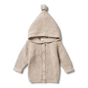 Wilson & Frenchy Knitted Jacket Oatmeal Fleck