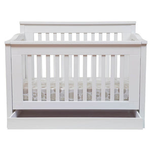 Cocoon Flair 5 in 1 cot White with tidy drawer + AUS innerspring mattress Package