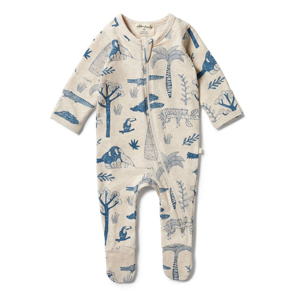 Wilson & Frenchy Organic zipsuit with feet Jungle Mania