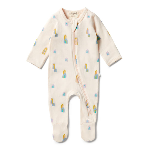 Wilson & Frenchy Organic zipsuit with feet Rainbow Mountains