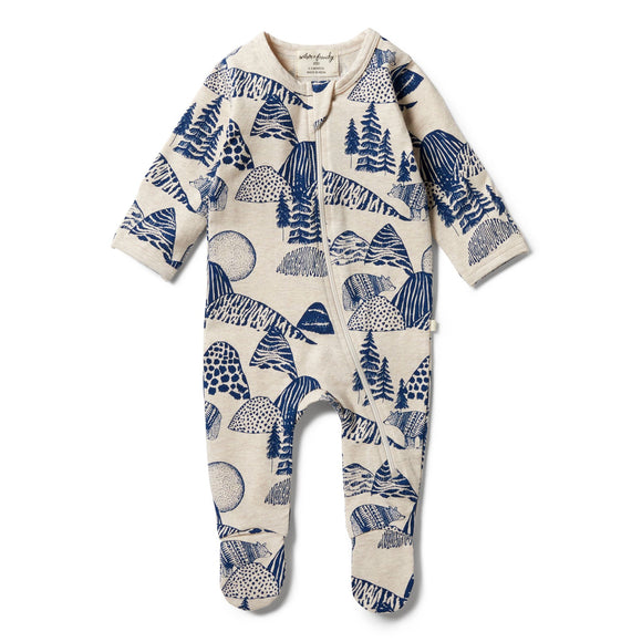 Wilson & Frenchy Organic zipsuit with feet Little Mountains