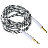 D'Amico 10ft White/Black Straight-Straight Guitar Cable