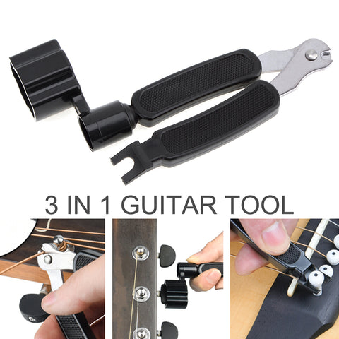 3-in-1 D'Amico Multifunctional Guitar Tool - Winder + String Cutter + Bridge Pin Puller